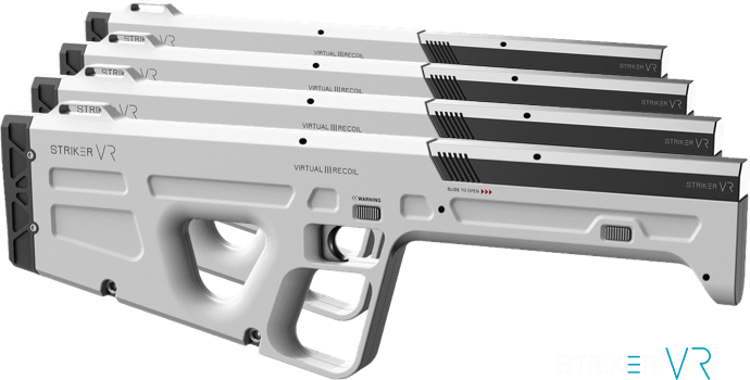 Striker VR guns with a single infrared LED marker configuration.